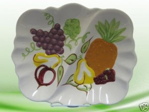 HAND PAINTED FRUIT DIVIDED PLATTER DISH POTTERY UNIQUE