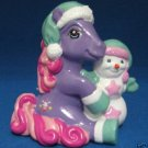 PURPLE MY LITTLE PONY W/ SNOWMAN CHRISTMAS FIGURINE NEW