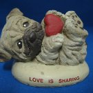 PUG PUPPY DOG LOVE IS SHARING FIGURINE STATUE ADORABLE