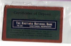 Certificate of Deposit Envelope - The Hastings National Bank - Hastings National Bank