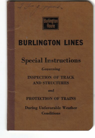 1938 Burlington Lines Special Instructions Booklet