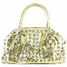 Metallic-Look 2-Pocket Acrylic Stones Studded Handbag w/Handles & Removable Shoulder Strap