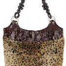 Faux Animal Print Fur & Alligator Skin 2-Pocket Bag w/Beaded Handles