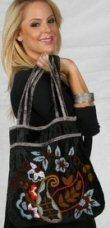 Black Viscose Bag Embroidered