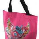 Canvas Tote Bags with Acryllic Stone Accents and Front Print- Assorted Colors