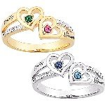 Sterling Silver or 14kt Gold over Sterling Couples Heart Birthstone and Name Diamond Ring