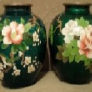 Antique Japanese Guilloche Cloisonne Silver Wire Vases