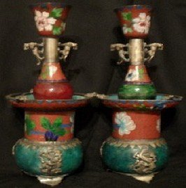 Antique Qing Dynasty Cloissonne-Jade-Silver Candlesticks