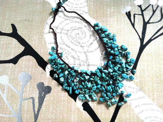 beach waxed wicker necklace made with torquise stones