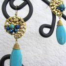 Stonishing unique party/wedding earings in blue torquise gold