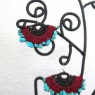 Stonishing beach wicker fan earings made with blue stones -red/brown