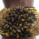 Stonishing three stones gold brown flexible wicker party/wedding bracelet