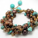 Multiple stones of gold brown blue bracelet jewelry for party or day out