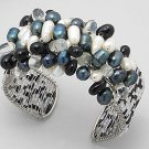 Multiple stones of black-white-purple bracelet jewelry for party or day out