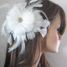 Crystal center feather fascinator for birdcage veil or tulle veil wedding in ivory or white