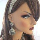 Limited time Sale for Crystal platinum bridal headband ivory- for tulle or birdcage veil