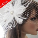 Birdcage Veil & Feather Fascinator with Pearl and Rhinestone