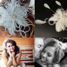 Birdcage veil & feather fascinator with pearl and rhinestone centerpiece (ivory or white) detachable