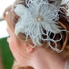 Feather fascinator with pearl and rhinestone centerpiece for birdcage veil (ivory or white)