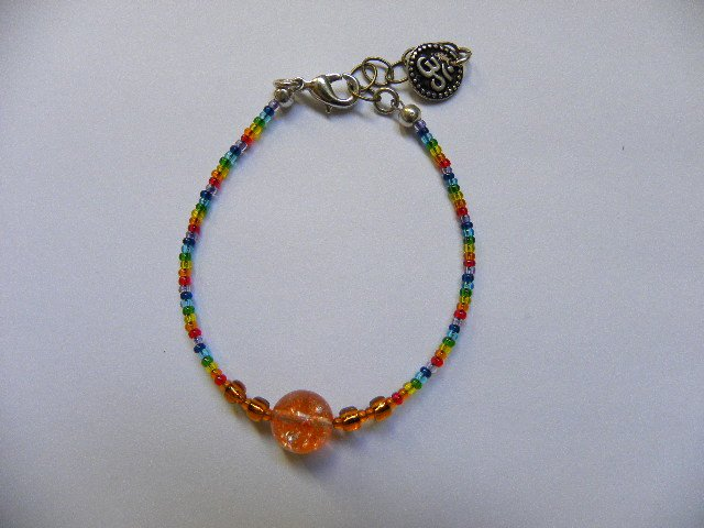 Orange orb creativity energy chakra bracelet