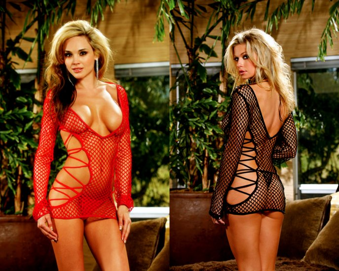 Fish net dress with cut out strappy sides