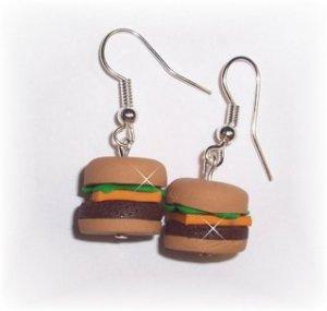 Polymer Clay Fun Food Earrings Cheeseburger