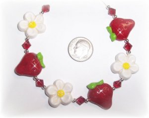 Polymer Clay STRAWBERRY STRAWBERRIES Bracelet PRETTY!