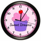 Personalized CUPCAKE Wall Clock Cafe Bakery Girls Bedroom Wall Art SPORTS TEAM NCAA