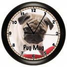 Personalized Pug Mug Wall Clock Pet Vet Wall Art Decor
