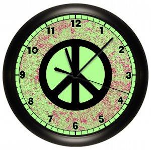 Lime Green Peace Sign Wall Clock Bedroom Decor Art