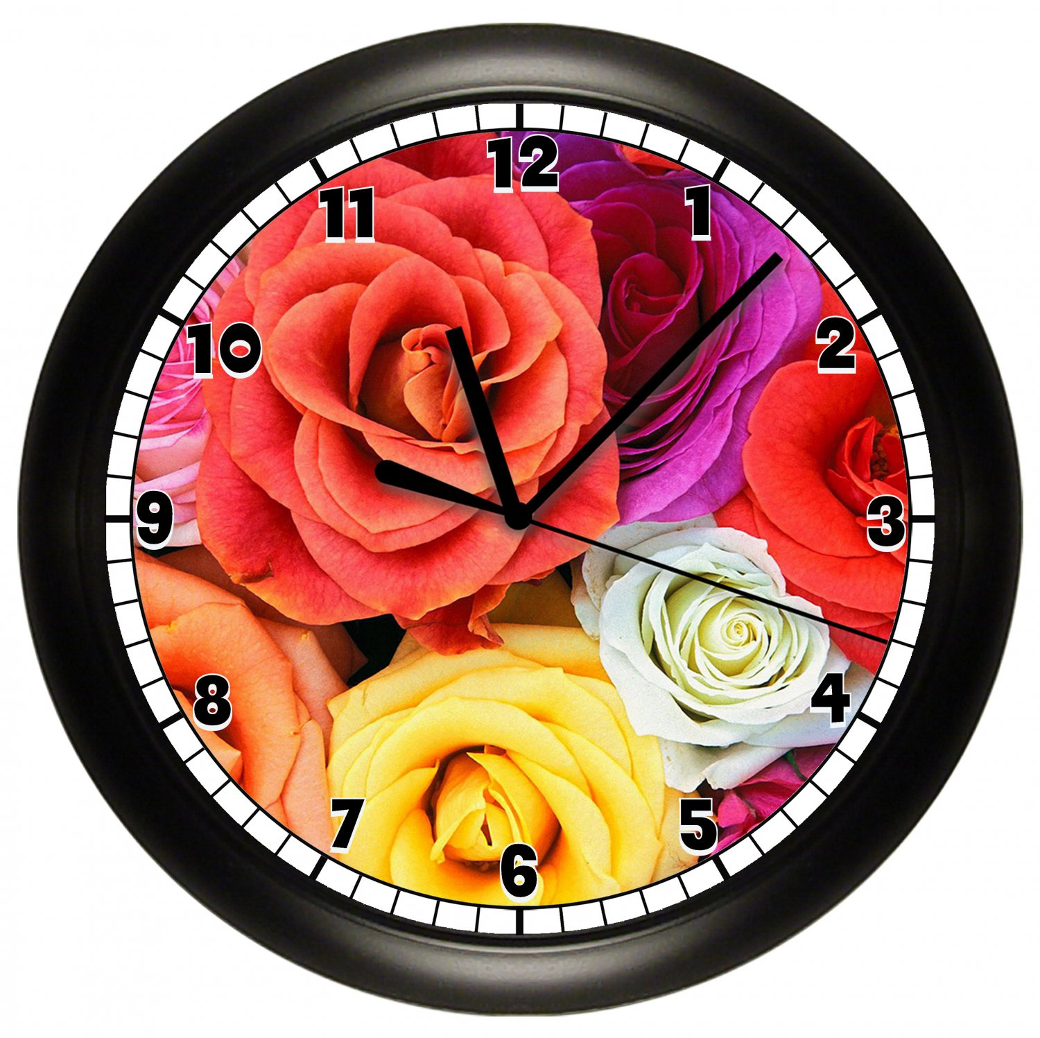Electra yellow roses timeworks petite wall clocks nude
