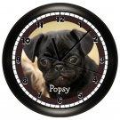 Personalized Black Pug Wall Clock