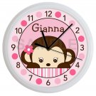 Personalized Pink Mod Monkey Nursery Wall Clock
