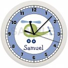 PERSONALIZED HELICOPTER NURSERY WALL CLOCK