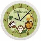 Personalized Safari Jungle Nursery Wall Clock