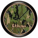 Camo Wall Clock Camoflauge Green Army Hunting