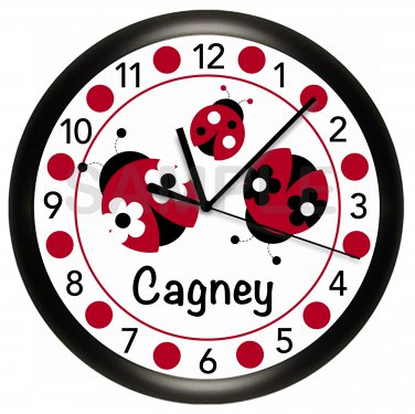 Personalized Red and Black Ladybug Nursery Wall Clock
