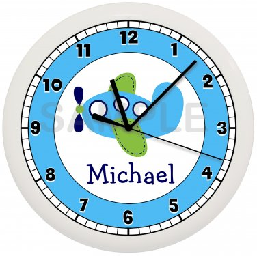 Personalized Airplane Nursery Wall Clock