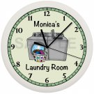 Laundry Room Wall Clock White Frame