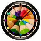 Colored Art Pencils Wall Clock Art Teacher Drawing