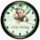 Personalized Green Monkey Wall Clock Nursery Children's Bedroom