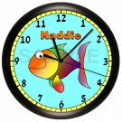 Personalized Blue Fish Children's Wall Clock