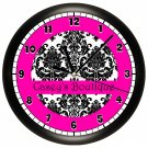 Personalized Hot Pink and Black Damask Print Wall Clock Bedroom Art