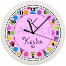 Personalized Pink Polka Dots Wall Clock