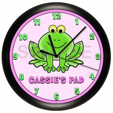 Personalized Pink and Green Frog Wall Clock