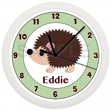 PERSONALIZED HEDGEHOG WALL CLOCK