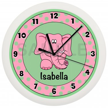 Personalized Pink and Green Elephant Nursery Wall Clock