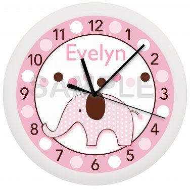 Personalized Pink Elephant Nursery Wall Clock