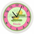 Dragonfly Nursery Wall Clock Personalized Pink