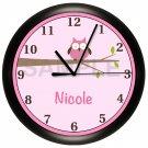 Personalized Pink Owls Nursery Wall Clock